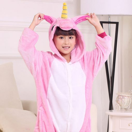 EOICIOI Kids Pajamas Flannel Animal Pegasus Stitch Unicorn Cosplay Pyjamas For Boys Girls Winter Warm Children Sleepwear Onesies 2