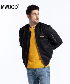 SIMWOOD 2019 Brand Winter Suede Jacket Men Fashion Embroidered Thick Coats High Quality Outerwear Leather Jackets 180582