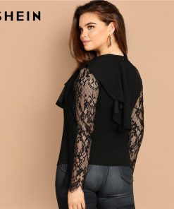 SHEIN Plus Size Black Stand Collar Sheer Lace Long Sleeve Elegant Panel Ruffle Trim Blouse Women 2019 Spring Casual Top Blouses 1