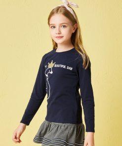 Balabala children brand girl tshirt clothes 2018 autumn new girls long sleeve vintage t shirt cotton soft for kids girls tops 1