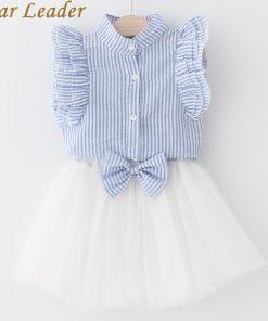 Bear Leader Girls Dress 2018 Summer Style Girls Clothing Sets Butterfly Sleeve Striped T-shirt+Bow Short Skirt 2Pcs Girls Suits 1