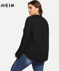 SHEIN Black Leopard Print Pocket Patched Roll Tab Sleeve V Neck Office Lady Plus Size Blouses Women Casual Half Placket Shirts 1