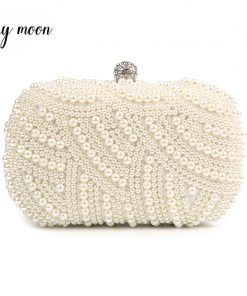 100% Hand made Luxury Pearl Clutch bags Women Purse Diamond Chain white Evening Bags for Party Wedding black Bolsa Feminina