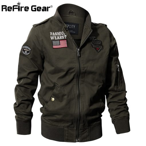 ReFire Gear Military Style Airborne Pilot Jacket Men Tactical Flight Army Jacket Autumn US Flag Air Force Motorcycle Cotton Coat