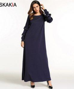 Siskakia Casual home dresses for women Autumn 2018 maxi long sleeve dress solid ruffles beading T shirt dress Navy Blue Muslim 1