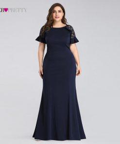 Plus Size Evening Dresses Long 2019 Navy Blue Lace Sleeve Mermaid Wedding Guest Gowns Ever Pretty EZ07768 Elegant Evening Gowns 1