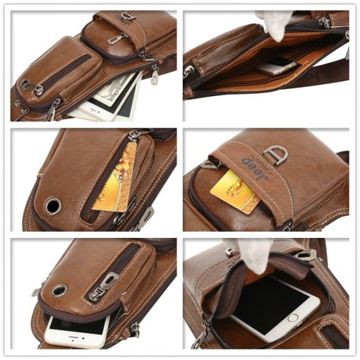 JEEP BULUO Men Messenger Bags New Hot Crossbody Shoulder Bag Famous Brand Man's Leather Sling Chest Bag Fashion Casual 6196 5