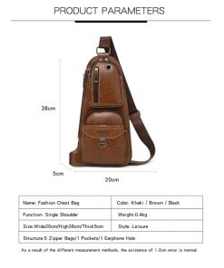 JEEP BULUO Men Messenger Bags New Hot Crossbody Shoulder Bag Famous Brand Man's Leather Sling Chest Bag Fashion Casual 6196 1