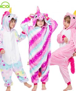 28 New Kids Animal Pajamas Set Winter Warm Boys Girls Starry Pegasus Unicorn Cosplay Children Sleepwear Onesie Flannel Pyjamas