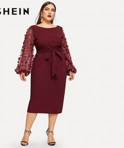SHEIN Burgundy Women Plus Size Elegant Pencil Dress With Applique Mesh Lantern Sleeve High Street Belted Slim Fit Party Dresses