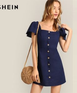 SHEIN Navy Single Breasted Flutter Sleeve Plain Short Dress Women 2019 Summer A Line Square Neck High Waist Solid Dresses