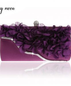 Luxy moon petal evening bags 6 color all match full dress women day clutch chains shoulder bag purse and handbags women totes