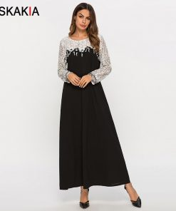 Siskakia lace See Through Patchwork Women Long Dress Spring Summer 2019 Elegant Maxi Dresses New Arrival Black White Color Block 1