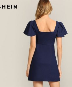 SHEIN Navy Single Breasted Flutter Sleeve Plain Short Dress Women 2019 Summer A Line Square Neck High Waist Solid Dresses 1