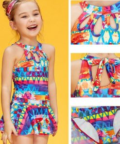 XARKE One Piece Swimsuit for Girls Skirted Bathing Suit Baby Girl Swimwear Print Halter Kids Bathers Children Swimming Suits 1