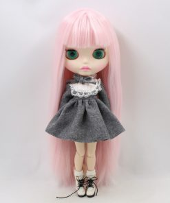 Factory blyth doll bjd joint body white skin new faceplate matte face BL2352 pale pink hair 30cm 1
