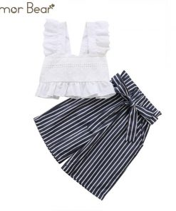 Humor Bear New Summer Baby Clothes Short top T-shirt + Striped wide-leg pants Two-piece Female baby girl clothes Suit