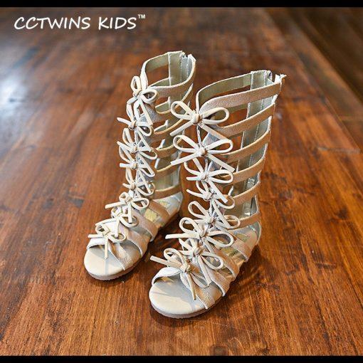 CCTWINS KIDS 2017 Summer Baby Girl Genuine Leather Knee High Gladiator Sandal Kid Fashion Children Beach Lace Up Black Shoe B414 2