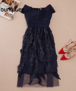 Young Gee Women Summer Bandage Dress Off Shoulder Diamonds Leaves Vestidos Strapless Knee Length Celebrity Evening Party Dresses