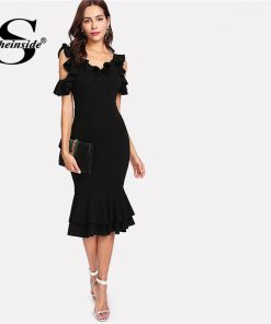 Sheinside Black Ruffle Cold Shoulder Dress Women Backless V Neck Midi Summer Party Dress Office Ladies Workwear Elegant Dress