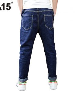 A15 Boys Pants Jeans 2018 Hot Boys Jeans for Spring Fall Children's Denim Trousers Kids Dark Blue Designed Pants 6 8 10 12 Year 1