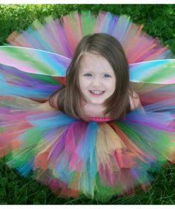 Candy Rainbow Fairy Girl Tulle Tutu Dress Shoulderless Girls Summer Dress Princess Evening Ball Gown Kids Party Dresses for Girl 1