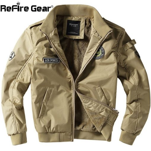 ReFire Gear Winter Air Force Flight Military Jacket Men Warm Thicken Fleece Lining Windbreaker Coat Casual Tactical Army Jackets 2