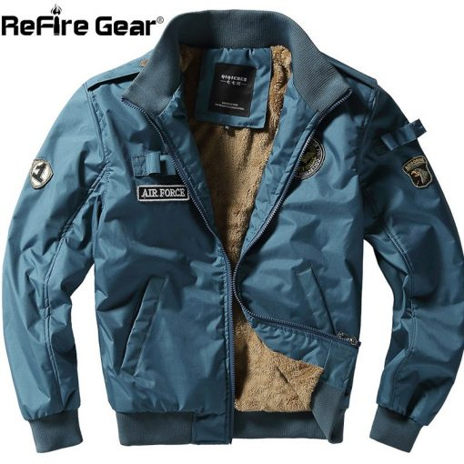 ReFire Gear Winter Air Force Flight Military Jacket Men Warm Thicken Fleece Lining Windbreaker Coat Casual Tactical Army Jackets 1