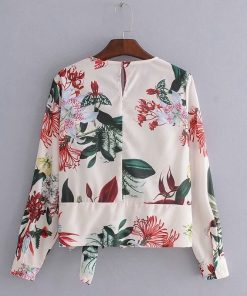 Bella Philosophy 2018 summer elegant o neck long sleeve hem bowknot print blouses shirt female femininas blusas casual slim 1