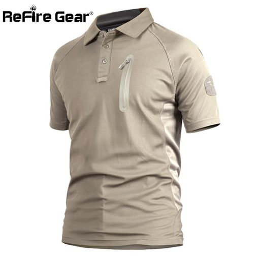 ReFire Gear Men's Tactical Military T Shirt Summer Army Force Camouflage T-shirt for Man Breathable Pocket Short Sleeve T Shirts 1