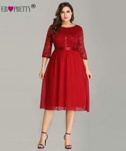 Ever Pretty Burgundy Plus Size Cocktail Dresses EZ07641 Women's Elegant Half Sleeve Lace A-line Knee Length Elegant Party Gowns