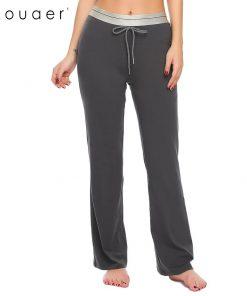 Ekouaer Women Cotton Casual Sleep Bottoms Soft Pant Elastic Drawstring Waist Solid Pajama Lounge Pants Loose Female Pants