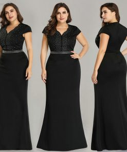Plus Size Black Evening Gowns Ever Pretty EZ07623 2018 Elegant Mermaid Sparkle V Neck Beaded Long Formal Gowns For Wedding Party