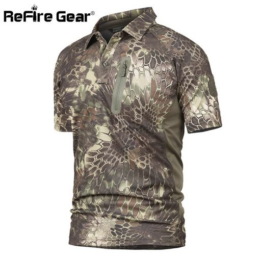ReFire Gear Men's Tactical Military T Shirt Summer Army Force Camouflage T-shirt for Man Breathable Pocket Short Sleeve T Shirts 3