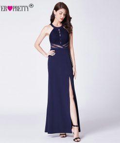 Navy Blue Evening Prom Dress Ever Pretty EP07390NB Vestidos De Fiesta Elegant A Line Off Shoulder Cut-Out Formal Gowns With Slit 1