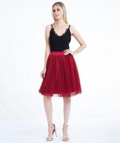 2018 Tulle Skirts Womens Black Gray White Adult Tulle Skirt Elastic High Waist Pleated Midi Skirt 1