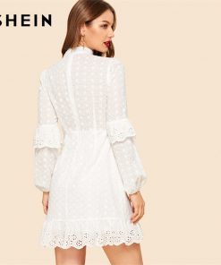 SHEIN White Ruffle Detail Sleeve Laser Cut Insert Stand Collar High Waist Plain Dress Bishop Sleeve Women Summer A Line Dress  1