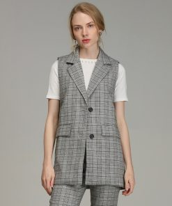 Bella Philosophy 2018 Spring Plaid Blazer Vest Women Casual Sleeveless Pockets OL Coat Waistcoat Female Single Breasted Outwears 1