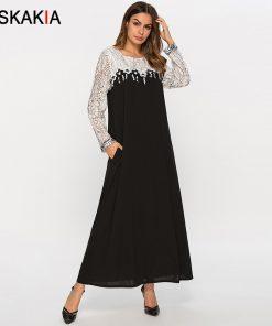 Siskakia lace See Through Patchwork Women Long Dress Spring Summer 2019 Elegant Maxi Dresses New Arrival Black White Color Block