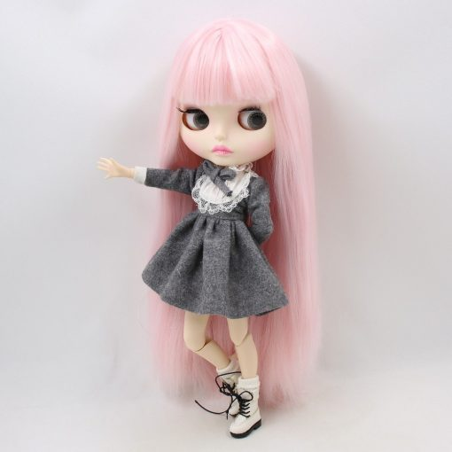 Factory blyth doll bjd joint body white skin new faceplate matte face BL2352 pale pink hair 30cm 3