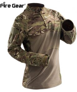 ReFire Gear Tactical Army Combat Shirt Men Long Sleeve Camouflage Military T Shirt Rip-Stop Multicam Paintball Uniform Clothing 1