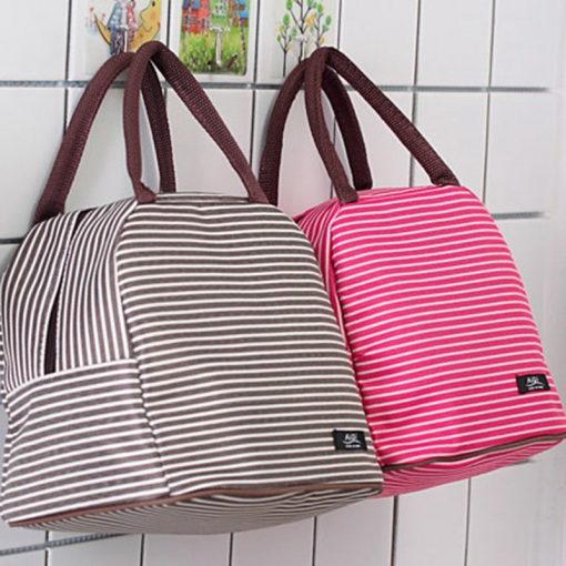 Women Fashion Stripe Lunch Bags Aluminum Thicken Portable picnic Food Fresh Keep Insulated Cooler Oxford Thermal Storage Cases 5