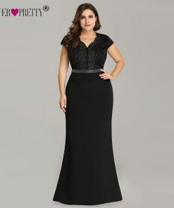 Plus Size Black Evening Gowns Ever Pretty EZ07623 2018 Elegant Mermaid Sparkle V Neck Beaded Long Formal Gowns For Wedding Party 1