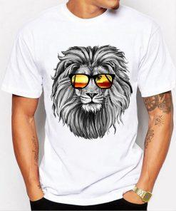 Men Tops 2018 Summer Crown Lion 3D White Men's T-shirt Fashion Animal Print T-Shirt Men Casual Short-Sleeve Tee Shirt Homme 4XL 1