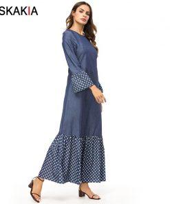 Siskakia Fashion Polka Dots Patchwork Women Dresses Autumn Fall 2018 Maxi Long Dress Brief Elegant Urban Casual Muslim Dress New 1