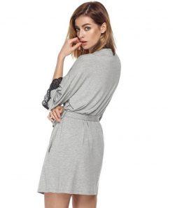 Ekouaer Women Sleepwear Nightwear Kimono Robe Soild Winter Autumn Casual Cotton Bathrobe Belt Elegant Bathroom Spa Robe 1