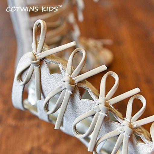 CCTWINS KIDS 2017 Summer Baby Girl Genuine Leather Knee High Gladiator Sandal Kid Fashion Children Beach Lace Up Black Shoe B414 5