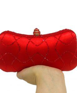 Boutique De FGG Red Crystal Evening Purse Party Minaudiere Bag Bridal Clutch Wedding Shoulder Diamond Handbag Bolsas De Festa 1
