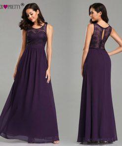 Ever Pretty 2019 Evening Dresses Long EZ07647 Sleeveless Purple A-line Chiffon Lace Appliques Elegant Special Occasion Dresses