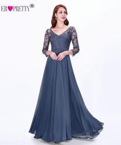 Long Sleeve Autumn Winter Evening Dresses Ever Pretty EZ07633 Women's Cheap Lace Appliques V-neck Formal Elegant Party Dresses
